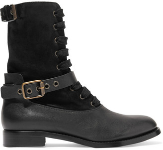 Chloé Buckled Suede And Leather Boots