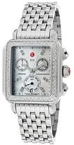 Michele Women's Deco Chronograph White Mother Of Pearl Dial Stainless Steel