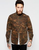 Asos Military Camo Overshirt With Two Pockets In Long Sleeve