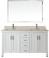 "BEIGE Crumpler 60"" Double Bathroom Vanity Set with Mirror Darby Home Co Base Finish: White, Top Finish: Gala"