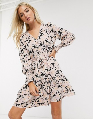 Only button front mini dress in floral print