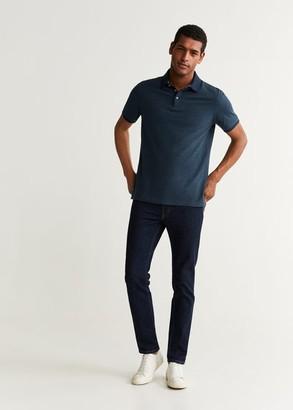 MANGO Stripe textured cotton polo shirt