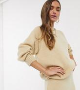 Asos DESIGN Petite oversized chunky jumper in cream co-ord