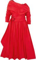 Isa Arfen Bubble Ruched Cotton-poplin Midi Dress - Red