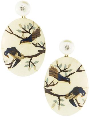 Silvia Furmanovich 18k Pearl-Post Marquetry Bird Drop Earrings