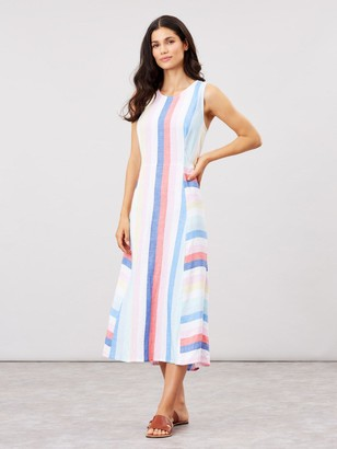 Joules Chrissie Multi Tripe Linen Mix Dress - Multi