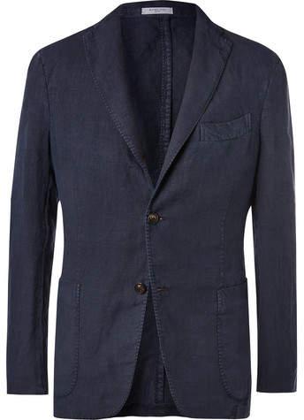 Boglioli Navy Unstructured Linen Suit Jacket