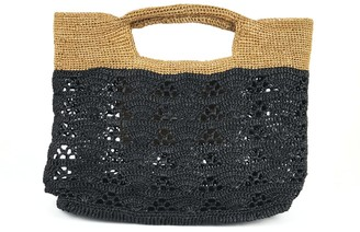 Maraina London Lucia Raffia Beach Tote Bag Black and Brown