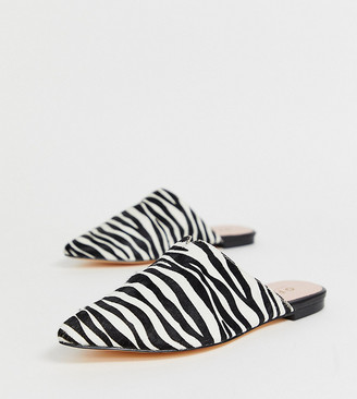 Office Faith exclusive zebra printed leather slip on mules-Multi