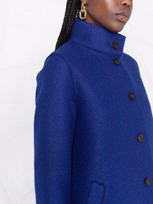 Harris Wharf London High-Neck Virgin-Wool Single-Breasted Coat