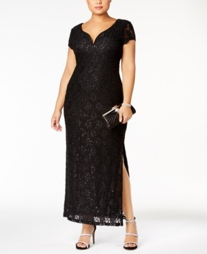 Connected Plus Size Sequined Lace Gown