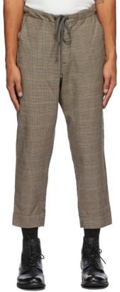 Greg Lauren Brown Wool Houndstooth Trousers