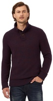 Mantaray Big And Tall Dark Red Textured Funnel Neck Jumper With Wool