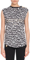 Balmain Button-Shoulder Leopard-Print Muscle Tee