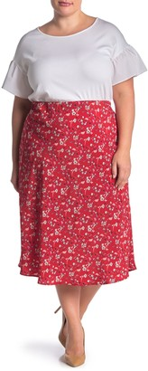 Sanctuary Satin Patterned Bias Midi Skirt (Plus Size)