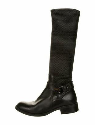 Aquatalia Leather Printed Riding Boots Black