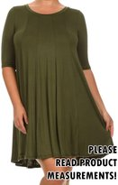 curvyluv.com Women's Plus Size Solid Jersey Short Sleeve Dress Knee Length A-Line