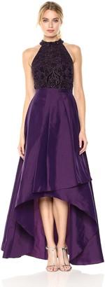 Adrianna Papell Women's High Neck Beaded Taffetta Halter with Hi Low Cascade Skirt