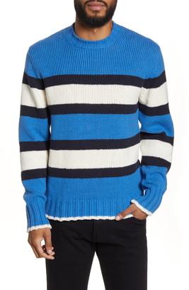 Officine Generale Slim Fit Stripe Crewneck Sweater
