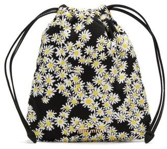 Miu Miu Daisy-print Nylon Drawstring Pouch - Black White