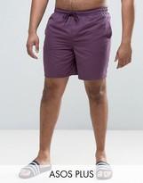 Asos PLUS Swim Shorts In Purple Mid Length
