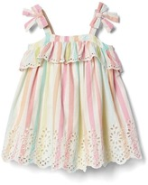Gap Pastel stripe eyelet bow dress
