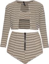 Lisa Marie Fernandez Genevieve striped seersucker twin-set bikini
