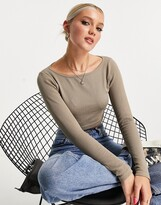 Thumbnail for your product : Pimkie seamless ribbed top co-ord in mocha
