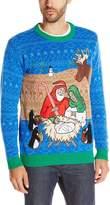 Blizzard Bay Men's Light up North Pole Nativity Scene Ugly Christmas Sweater