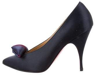 Christian Louboutin Pointed-Toe Satin Pumps