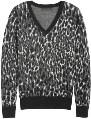 Banana Republic Leopard V-Neck Sweater