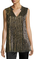 St. John Metallic Plissé V-Neck Shell, Black/Gold