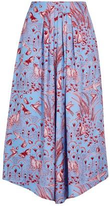 Stine Goya Blossom printed silk-satin midi skirt