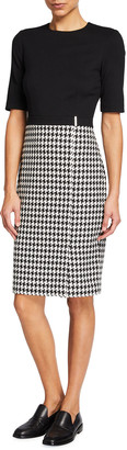 Ted Baker Houndstooth Combo Elbow-Sleeve Pencil Dress