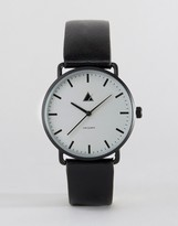 Asos Minimal Watch With Leather Strap In Black