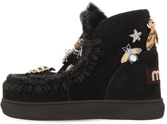 Mou Eskimo Shearling Boots W/ Applique
