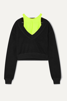 Alexander Wang Cropped Layered Stretch-jersey Sweatshirt - Black