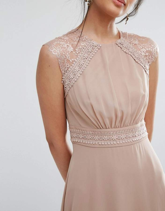 Elise Ryan Midi Dress With Crochet Lace Trim