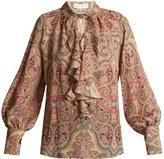 Etro Villandry paisley-print ruffled silk shirt
