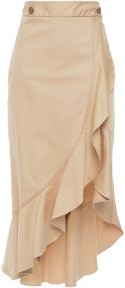 Isolda Asymmetric Ruffled Cotton-blend Twill Skirt