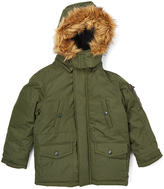U.S. Polo Assn. Sycamore Green Faux Fur-Trim Puffer Coat - Boys