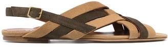 Michel Vivien Woven-Detail Leather Sandals
