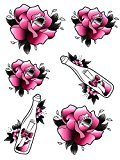 Set of 2 Waterproof Temporary Fake Tattoo Stickers Cute Pink Flowers Drifting Bottle Design
