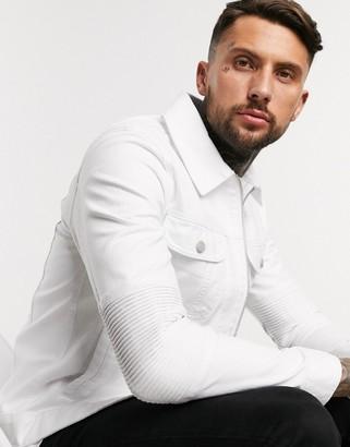 ASOS DESIGN denim jacket with biker panels in white