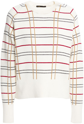 Maje Majeur Checked Ribbed Wool-blend Sweater