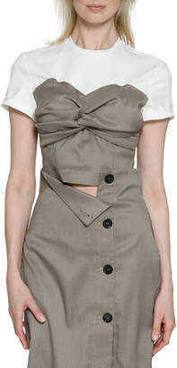 Walter Baker Falette Check Knotted Contrast Top