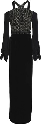 Roland Mouret Tadley Cold-shoulder Embroidered Crepe And Velvet Gown