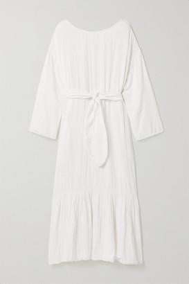 Mara Hoffman Net Sustain Augusta Crinkled Organic Cotton-gauze Maxi Dress - White