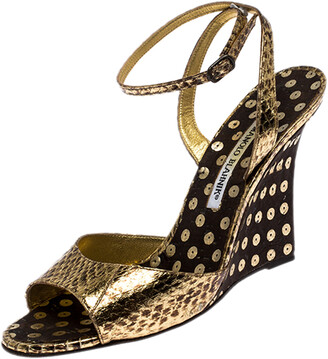 Manolo Blahnik Gold Python Embossed Leather Wedge Ankle Strap Sandals Size 39.5