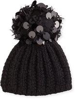 Grevi Knit Sequin-Trim Beanie